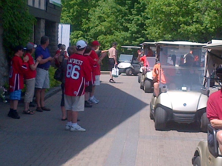 One of the highlights of the day is when the Condors sned-off the golfers through a tunnel of cheers and high-fives!